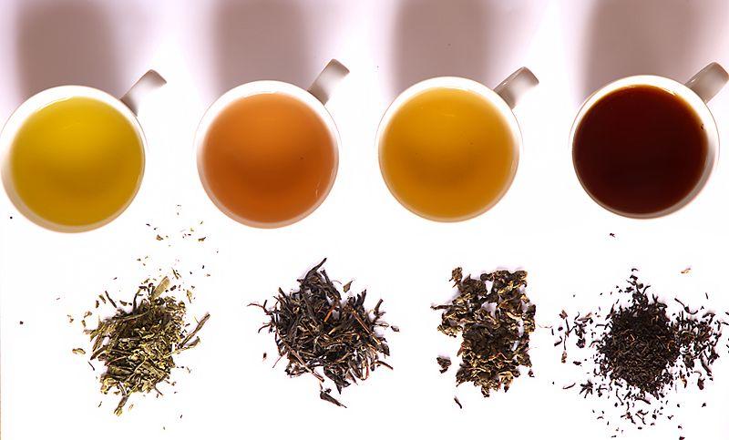 Thés vert, jaune, Oolong et noir